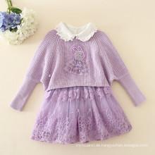 neue Mode Pullover Kleid mit Stickerei Set Herbst Pullover Kleid Set Kleidung Sets