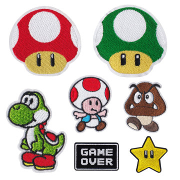 Cartoon Game Super mario Toy Toppa ricamata per vestiti