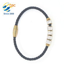 Detachable button handmade unisex PU leather bracelet with stainless steel beads