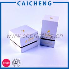 Emballage cosmétique de boîte de pot de crème d'oeil de couleur blanche, boîte-cadeau cosmétique de luxe de carton avec l'EVA