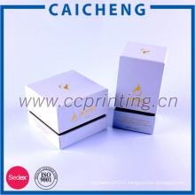 White Color Eye Cream Jar Box Cosmetic Packaging, Luxury Cardboard Cosmetic Gift Box with EVA