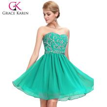 Grace Karin Strapless Sweetheart Short Chiffon Green Bridesmaid Dresses CL6049-5