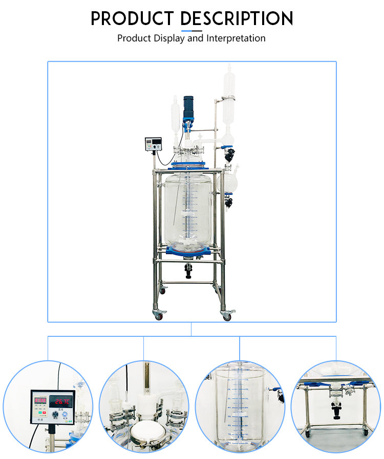 Manufacturer Direct Selling100L Laboratory Chemical Reactor Jacketed Double Layer Glass Stirred Tank Reactor