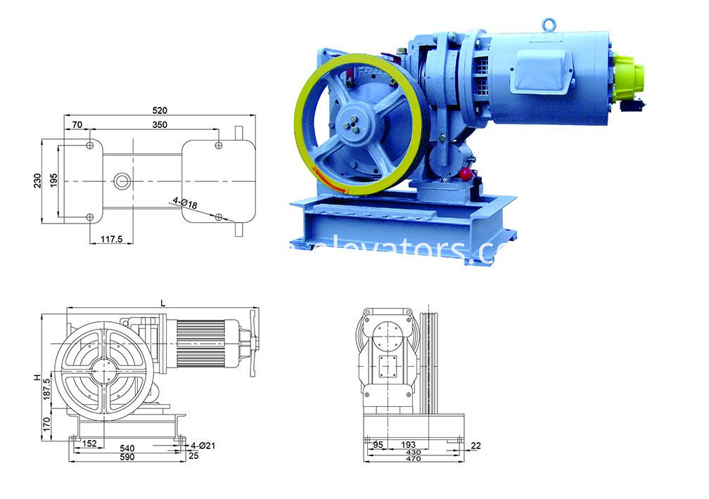 AC220V Elevator Gear Driving Machine