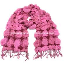 Lady′s Fashion Pink Winter Warm Chunky Ruffle Bubble Scarfs