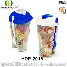 Recipiente de salada de plástico de alta qualidade com garfo (HDP-2018)