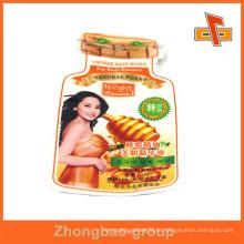 China OEM fábrica asséptico laminado plástico personalizado saco em forma com impressão