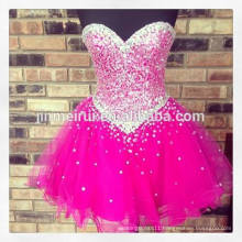 2014 New Arrival Real Sample Picture Charming Fuchsia Sweetheart Sequins Short Mini Homecoming Dress Women Free Shipping JHD019