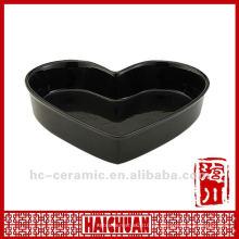 Cacerola de pizza en forma de corazón de cerámica, cacerola de pizza en forma