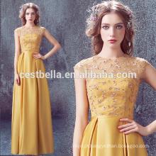 Elegant Golden Yellow Long Evening Dress Vestidos de cetim de cetim amarelo 2017