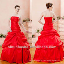 Jeune Robe de bal rouge Ruffles Corset sans bretelles Fermeture Brush Train Robe Quinceanera Sweet Party Gown