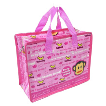 PP WOVEN Factory wholesale promotional cheap logo shopping bags with zipper
