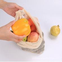 fashion organic laundry drawstring cotton mesh wash bag for vegetable