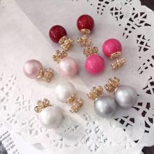 Vente chaude étonnante gros faux bijoux en perle boucles d'oreille à double face en faux diamant et perle boucle d'oreille