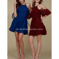 Red Long Abendkleid Cold Shoulder Abendkleid