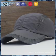Benutzerdefinierte Polyester / Mesh-Gewebe Metall Wölbung einfache Sport-Caps