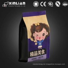 Kundenspezifische Selbstaufstellung flache quadratische Bodenverpackungsbeutel mit Reißverschluss