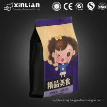 customized self stand up flat square bottom packaging bag with zipper
