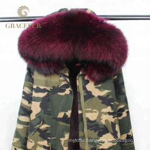 China supplier army green women winter military real fur parka