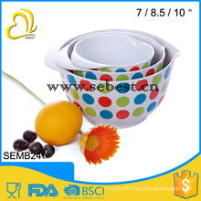 3 pieces melamine mixing bowl with printing