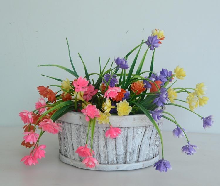 Round wash white wood bark handicarft flower basket-4