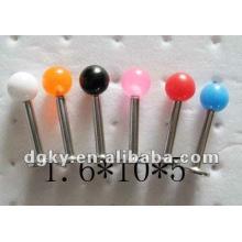 1.6mm barra de acero inoxidable labio piercing tornillo de rosca cuentas de acrílico labret
