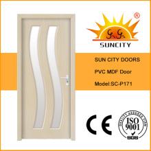 China New Toilet PVC MDF Glass Door Design (SC-P171)