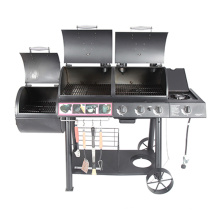 Multi-Function 2 in 1 Gas Charcoal BBQ Smoker with Ce CSA