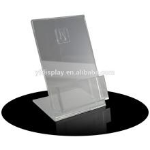 clear acrylic restaurant menu card holder with black base