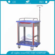 AG-LPT006B Hospital ABS material clínica enfermera peluche móvil usado carro de laboratorio