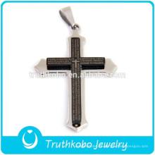 2012 Venta al por mayor Top Cristiandad Moda Acero inoxidable pulido Plata y negro plateado Biblia verso cruz colgante
