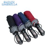 Resistente al viento compacto rojo automático a prueba de viento Mens Telescópica seguro reflectante raya paraguas con estampados de logotipo