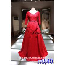 1A840 Romántico V-cuello rojo abierto de encaje de manga 3/4 Trailed Ball vestido de noche vestido