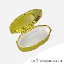 Oro Ovalado Pequeño Píldora Caso (BOX-38)