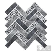 Mist Blue Inkjet Printing Glass Mosaic Subway Tile