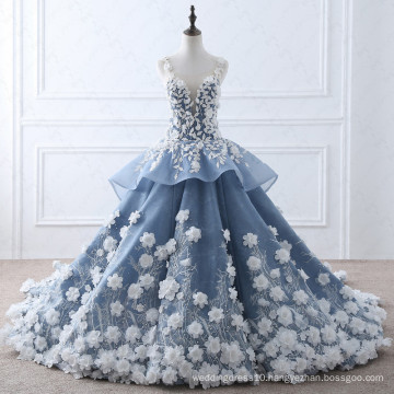 TW0184 Flower Fairy Beige Appliques Luxury Wedding Dress With Real Pictures Royal Blue Wedding Gowns