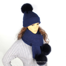 Pure color wool knitted hat scarf with faux fur pom poms winter neck warmer women hat and scarf set