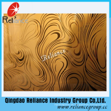 4mm / 5mm / 6mm Silber / Golden Dekoratives Glas / Restrunt Dekoration Glas / Säure geätztes dekoratives Glas