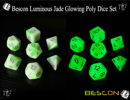 Bescon Luminous Jade Glowing Poly Dice Set-2