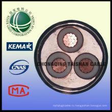 Водонепроницаемый специальный кабель Гибкий электрический кабель 6 / 10KV 3-жильный XLPE изолированный ПВХ оболочкой силовой кабель