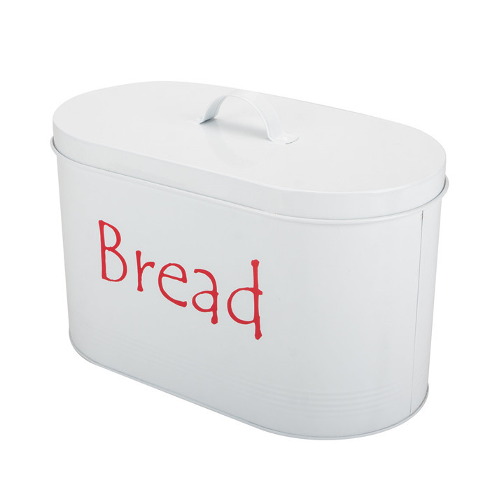White Oval Metal Vintage Bread Bin