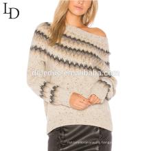 Nuevo estilo cómodo jacquard rayado suéter de cachemira de las mujeres