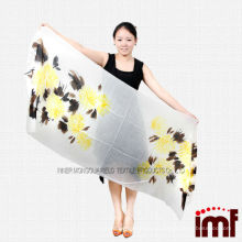 Мягкий удобный желтый и коричневый цветной принт женский шарф высокого качества 100% кашемир