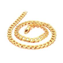 Colar de ouro sólido 18k robusto, jóias de corrente de cobre sólido