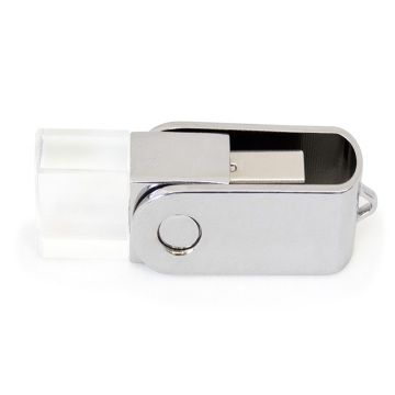 Unidad flash USB Crystal Swivel con logotipo personalizado