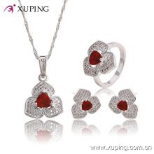 Fashion Elegant CZ Diamond Heart-Shaped Rhodium Jewelry Set for Wedding or Party 63767