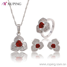 Moda elegante cz diamante em forma de coração ródio jóias conjunto para casamento ou festa 63767