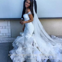 Vestido de boda rizado de la sirena por encargo del cordón dulce del amor WW1414