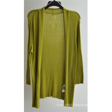 Women Long Sleeve Open Pure Color Knit Cardigan