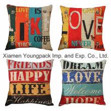 Home Decorative Custom Printed Cotton Linen Square Zipper Sofa Throw Cushion Covers